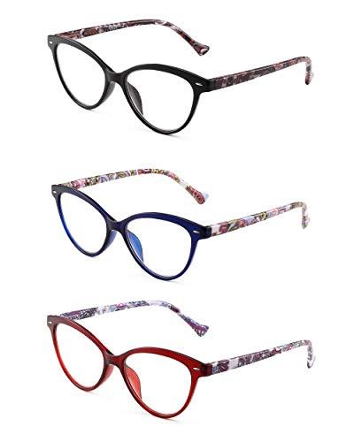 JM 3 Pack Mode Designer Katzenauge Lesebrille Federscharnier Brillen für Leser Damen +2.25 Mischfarbe