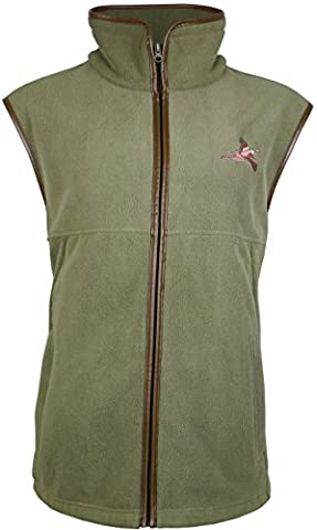 Fleece Gilet Shooting Body Warmer Vest Hunting with Pheasant Embroidery (XX-Large, Green)