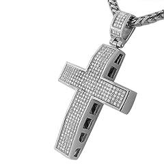 Idea Regalo - In acciaio INOX con zirconia cubica, misura grande, motivo: Hip Hop-Catenina con ciondolo a forma di croce da uomo