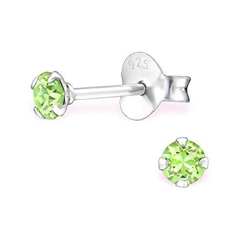Bungsa grüne Kristall-Ohrstecker mit 3mm SWAROVSKI Kristall rund aus 925 Silber - Peridot grüne Ohrringe mit SWAROVSKI-Stein