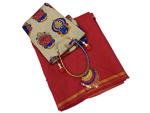Silverstar Chanderi Cotton Saree With Blouse Piece (Sss1218_Red_Free Size)