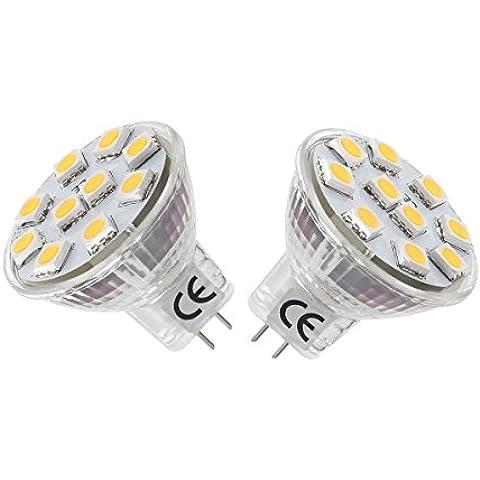 LE Bombillas GU4.0 LED 1.8W / 20W Halógena Blanco cálido MR11 Pack de 2