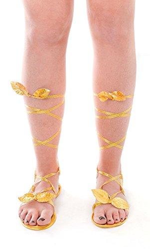 3Göttin Sandalen, Gold, One Size (Göttinnen Kostüme Ideen)