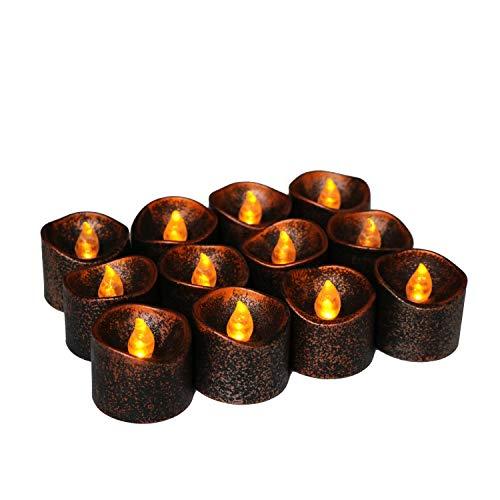 Halloween Candle Light Schwarze LED-Kerze Elektronische Kerze Mit Knopf Batterie Halloween Schwarze Kerze 12Ps (Kerzen Schwarz Led Halloween)