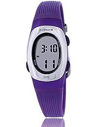 Reloj electrónico digital de múltiples funciones de los ni?os,Gelatina 50 m resina resistente al agua alarma cronómetro chicas o chicos peque?os simple moda retro reloj de pulsera-J