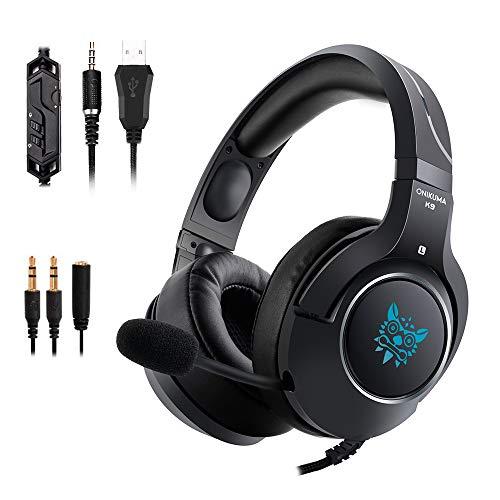Gaming Headset mit Mikrofon und RGB LED Licht für PS4, Xbox One, Laptop, Computer, Mac, 3,5mm Klinke Surround Stereo Sound geräuschisolierend über Ear Soft Earmuf leicht Lautstärkeregler (Pc Spiel Beute)