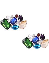 Clip decorativo para zapatos con coloridos cristales, dije para zapatos de fiesta o matrimonio, accesorios de hebilla, marca Santfe