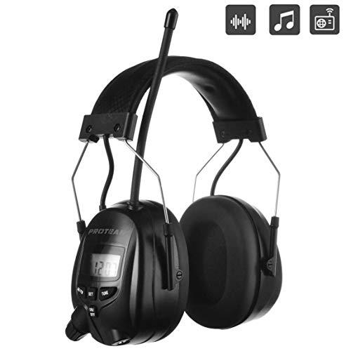 PROTEAR Gehörschutz mit Radio AM FM,MP3-kompatibel,für Industrie,BAU und Mähen Professionelle Lärmreduzierung,SNR 30dB(Schwarz )