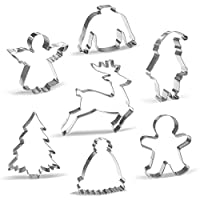 Large Christmas Cookie Cutter Set - 7 Piece - Santa, Reindeer, Gingerbread Man, Christmas Tree, Angel, Ugly Sweater, Winter hat - Stainless Steel