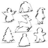 Keewah Grande Formine Per Biscotti Natale Inverno - 7 Pezzi - Babbo Natale, Renna, Pan di zenzero, Albero di Natale, Angelo, Brutto maglione, Cappello invernale - Acciaio Inossidabile