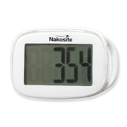 "TODAY'S DEAL is NAKOSITE Best Walking 3D Simple Pedometer with Strap plus Free eBook. NSPD 2433, Accurate Step Counter ONLY. Tri-Axis Technology, White, Easy to read Display. BONUS: eBook ""How I Lost Weight Walking"". 365 Days Warranty"