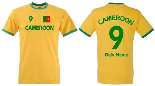 Fruit of the Loom Kamerun Herren T-Shirt Retro Trikot Wunschname & Nummer|L