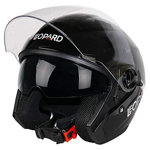 Leopard LEO-608 DVS Offenes Gesicht Motorradhelm Rollerhelm Jethelm Jet Helm mit Lang klar Visier und Integrierter Sonnenblende   ECE Zertifiziert S (55-56cm)