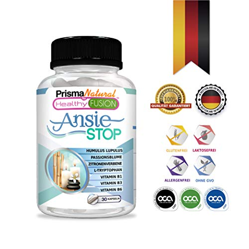 ANSIESTOP - L-Tryptophan, Passionsblume und Vitaminen - Angst und Stress Relief Supplement - Anti Stress & Relax - Beendet Nervosität und Stress - Hochdosiert - Entwickelt in Deutschland - 30 Kapseln -