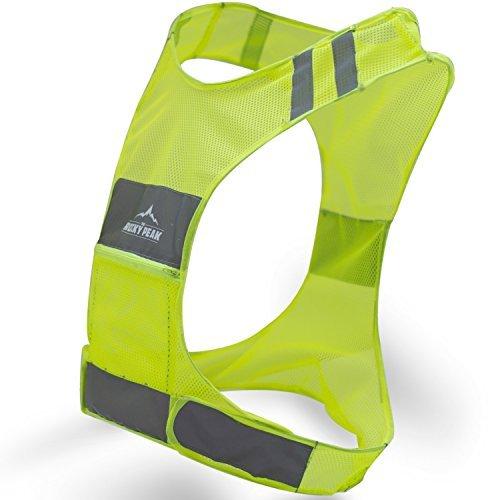 Sicherheitsweste für Sportler, reflektierende Weste mit Taschen,ideal für Radfahren, Radfahren, Walking, für Damen und Herren, Größe S–L, gelb, Large