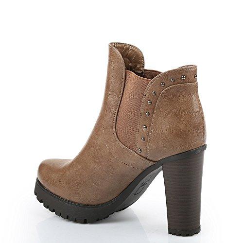 Ideal Shoes – Stiefelette Stil Chelsea à talon Dick Verschmutzungen der  Nägel Shayna Beige - Beige ...