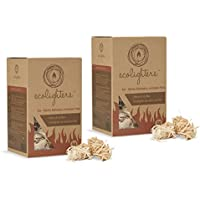 Ecolighters 100 Firelighters Natural Stove-Barbecue BBQ Firelighters For Stoves, Barbecues, Campfires and Open Fires NEW LARGE Pack of 2 X 50 (100, 2x50)