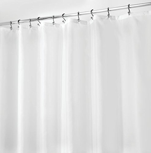 mDesign Duschvorhang anti-Schimmel - 183 cm x 183 cm - schlichter Dusch- & Badewannenvorhang - Duschgardine wasserabweisend - 12 vorgenähte Löcher - Farbe: weiß
