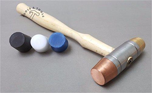 5Faces interchangeables marteaux Plastique Maillet de cuivre en caoutchouc Laiton Bijoux