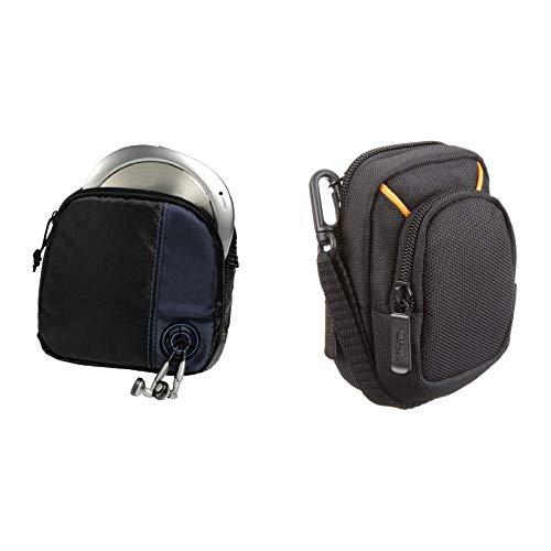 Hama CD-Player-Tasche für Discman und 3 CDs (Mit Kabelausgang und Gürtelschlaufe) schwarz/blau & AmazonBasics Kameratasche für Kompaktkameras, mittlere Größe -