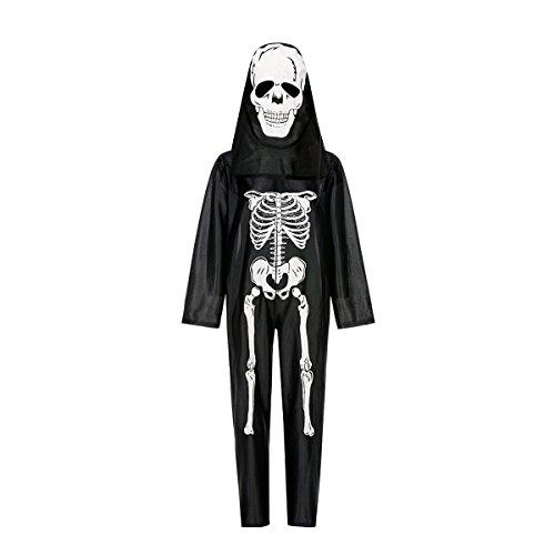 Kostümplanet® Skelett Kostüm Kinder Jungen Halloween Kinder-Kostüm komplett mit Maske Zombie Geist Grusel (Skelett Anzug Kind Schwarz Kostüme)