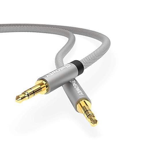 Neowey Nylon Aux-Kabel 3,5mm Stereo für Handy iPod iPhone Samsung Lautsprecher Auto Tablet KFZ PC (1,5m, Graphit Schwarz)