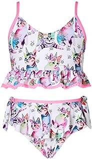 Adicreat - Vestido sin mangas para niña, con cuello redondo, estampado, vestido informal o para fiestas