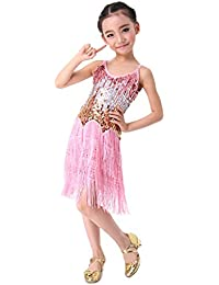 SymbolLife filles latine Salsa Tango Ballroom Dance Dress Costume Paillettes Tassel