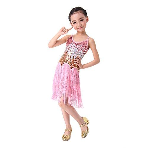 SymbolLife Mädchen Lateinamerikanischer Tänze lateinische Salsa-Tango Ballsaal Tanz Kleid Kinder Tanzkleidung Pailletten Kostüm Darbietungen Tanzkostüme für Karneval Kindertag Aufführung, S (Ballsaal Kostüm Zubehör Tanz)