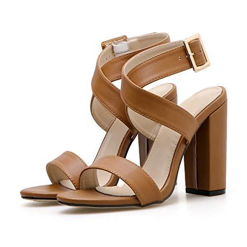 XTQCBQL Frauen Sommer Plattform 11,5 cm High Heels Kleid Starke Blockabsätze Braune Sandalen Dame Pumpt Weibliche Sandalen Strap Schuhe -