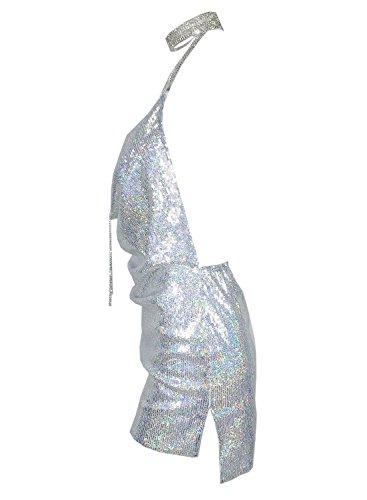 Futurino Damen Frühling/Sommer Casual Glanz Rückenfrei Sequin Split Mini Kleider Kurz Strand Urlaub Neckholder Bodycon Clubwear Silber