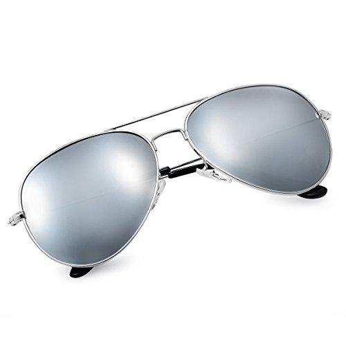 Yveser Polarisierte Sonnenbrille Pilotenbrille für Männer und Frauen Yv3025 (Silber Linse/Silber Rahmen)