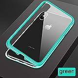 AMEINV Cas de téléphone Coque magnétique pour iPhone XR XS Max X 8 Plus 7 Coques en Verre trempé à l'arrière pour iPhone 6 6S Plus 9 Couleur Candy Cover-pour iPhone 3G-Vert Transparent