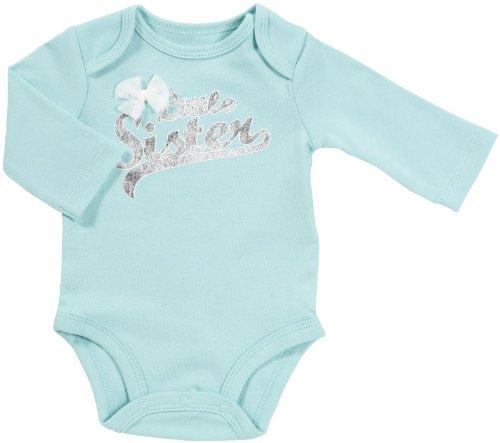 Carters Baumwolle Bodys (Carter's Body Gr. 62/68 Spruch little sister US SIZE 6 month girl onesie Mädchen Unterwäsche Baby Langarmbody)