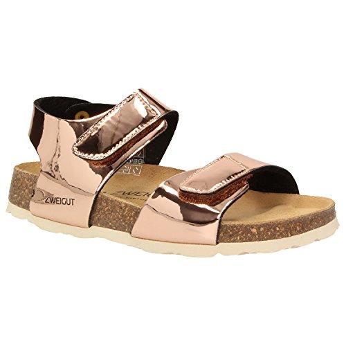 Zweigut® -Hamburg- luftig #502 Kinder Klett-Sandale Mädchen Sommer Schuh mit weichem Leder-Komfort-Fußbett, Schuhgröße:27, Farbe:Kupfer
