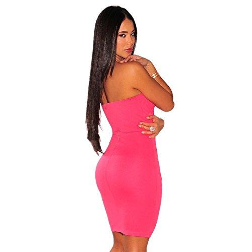 KingField - Robe - Moulante - Sans Manche - Femme Medium Rouge - Rosy
