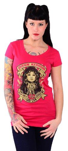 King Kerosin ONLY GOD CAN JUDGE ME Oldschool Longshirt Rockabilly SHIRT Sorbet-Pink mit buntem Motiv