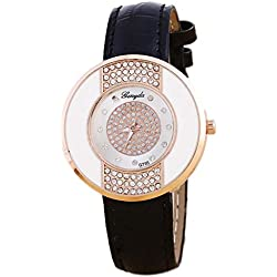 Rhinestone Wrist Watch - Gerryda Fashion Women Watch Leather Band Sport Analog Quartz Wrist Watch, Black