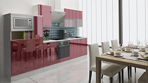 respekta Premium Instalación de Cocina Cocina 310cm Botiquín de Burdeos Brillante vitrocerámica