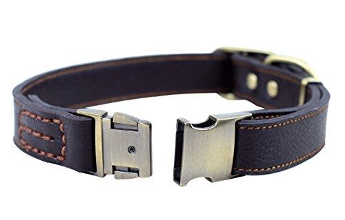 Rantow Collier réglable confortable en cuir véritable chiens pour chiens moyens/grands, taille du cou de 13 pouces à 20 pouces, 1 pouce large (brun)