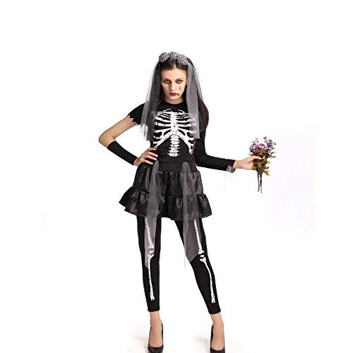 Batman Weibliche Joker Kostüm - Fashion-Cos1 The Dead Horror Zombie Ghost Bride Kostüm Erwachsene Frauen Halloween Cosplay Scary Skeleton Joker Kostüm (Color : Black)