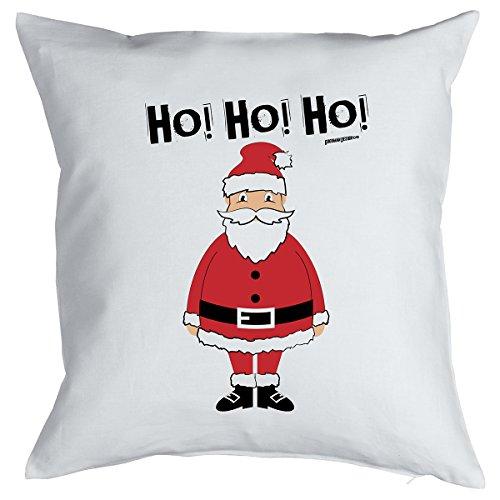 Happy Kissen mit Füllung für Weihnachten: Frohe Weihnachten, Ho! Ho! Ho! Weihnachtsmann/ Santa Claus - Goodman Design ® -