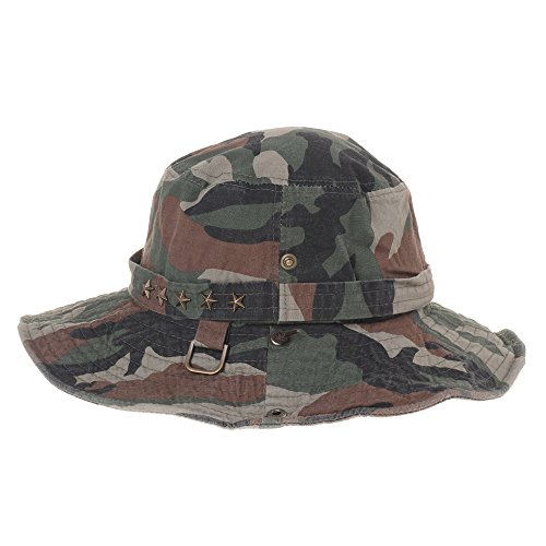 WITHMOONS Casquette de Baseball Boonie Bush Hats Wide Brim Denim Camouflage Side Snap KR2190 Olive