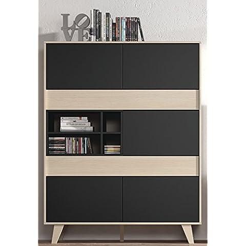 Vitrina, aparador o estanteria para salon o comedor en roble y grafito, 156x121x41cm