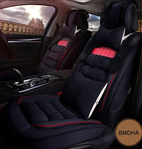 Gemütliche Plüsch (OOFA BMDHA Autositzbezüge Voller Satz von 5 Sitzen Warm bleiben 5D Package Plüsch Sitzkissen Weich Gemütlich Universal Modell,Black)
