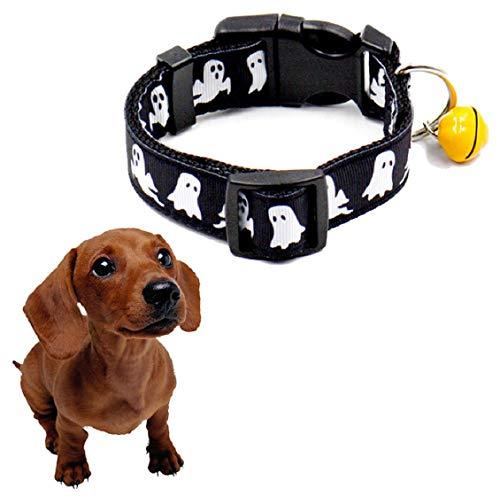 lsbänder für kleine Hunde, Coole Halloween-Nachahmung Nylon Hund Welpenhalsbänder mit Bell Dog Festival, verstellbare Halskettenhalsbänder für Doggy (schwarz) ()