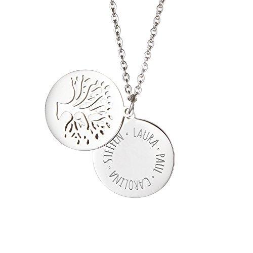 elstahl mit Kreis und Baumanhänger, Personalisiert mit Namen, inkl. Geschenkbox, Damen Schmuck, Länge ca. 55 cm ()