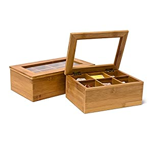 Relaxdays Boîte à thé en bambou 6 ou 8 compartiments Coffret sachets thé vrac HxlxP : 9 x 28 x 16 cm Fenêtre transparente, nature