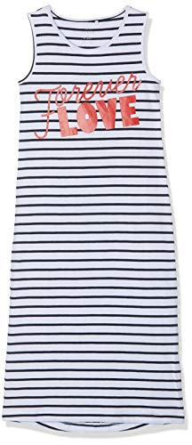 Name IT NOS Mädchen NKFVIPPA SL Maxi Dress NOOS Kleid, Weiß (Bright White Print: Love Text), Herstellergröße: 134