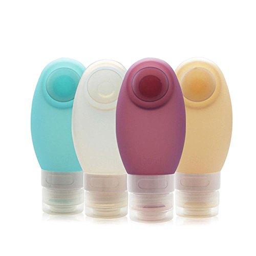 KOBWA Silikon-Reise-Flaschen 4-Pack Travel Flaschen für Shampoo, Lotion, Conditioner mit 1 Zahnbürste Cover